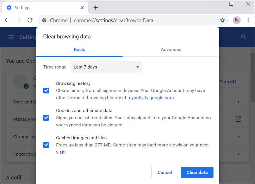 Dati di navigazione di Chrome cancellati