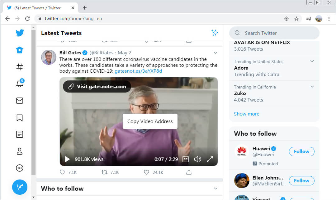 Copy Twitter video address on Computer