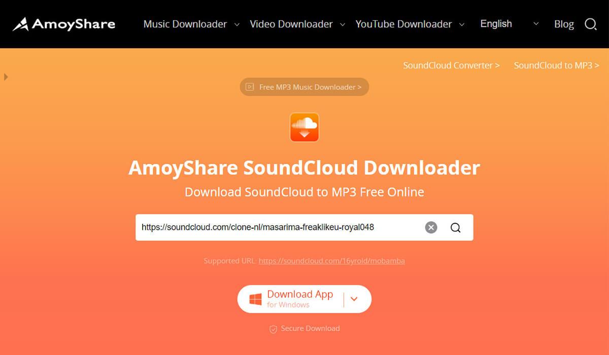 Paste link in SoundCloud downloader