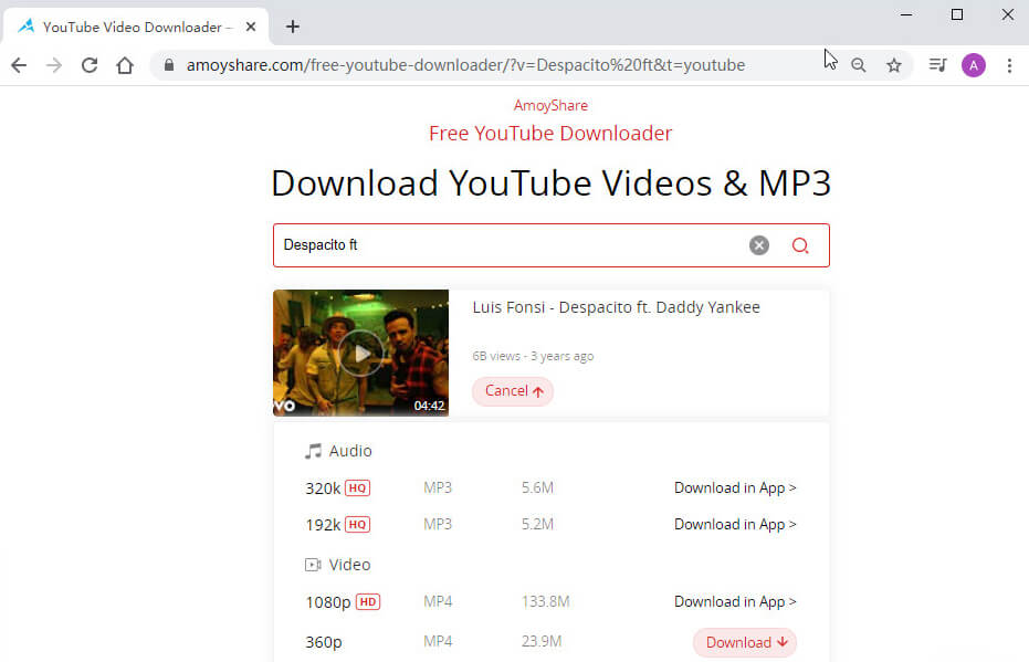 Search YouTube video on the downloader