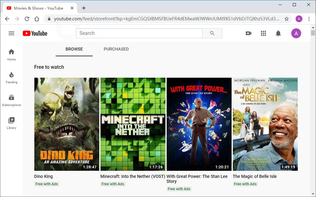 Kostenlose Filme auf YouTube ansehen