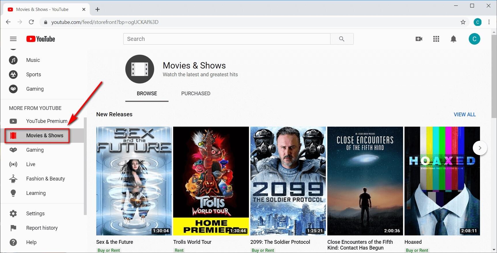 Canale dei film di YouTube