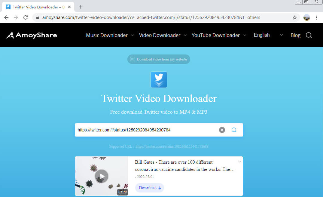 Incolla il link in Amoyshare Twitter Video Downloader