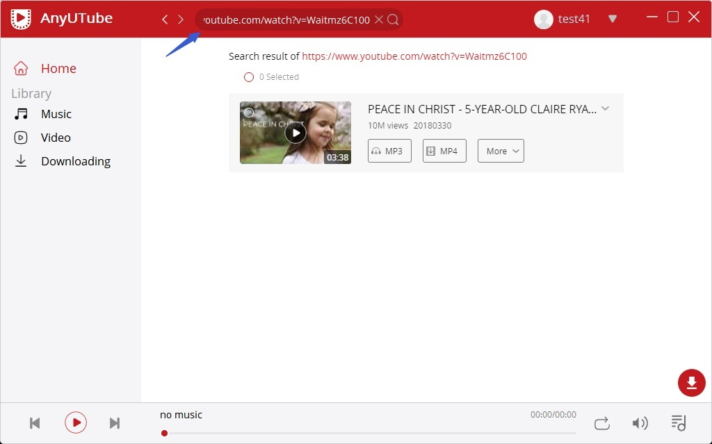 Paste YouTube URL to search