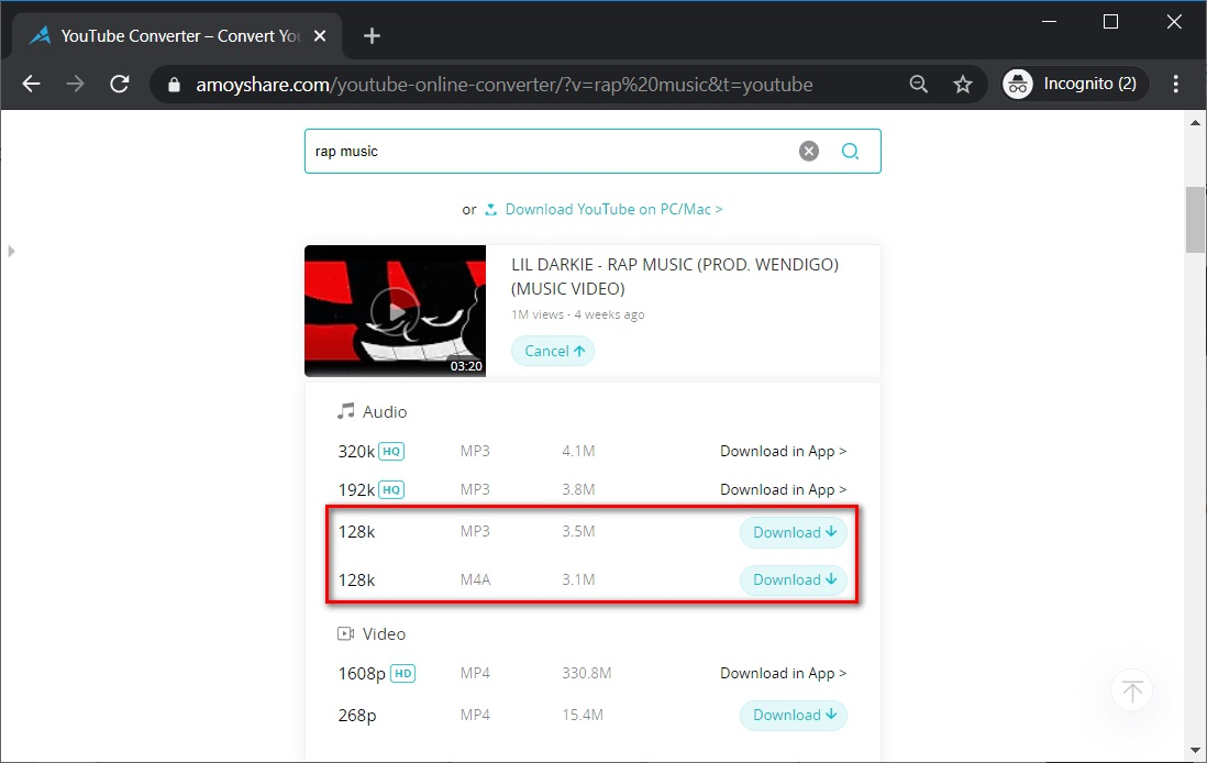 AmoyShare YouTube Converter audio formats selection
