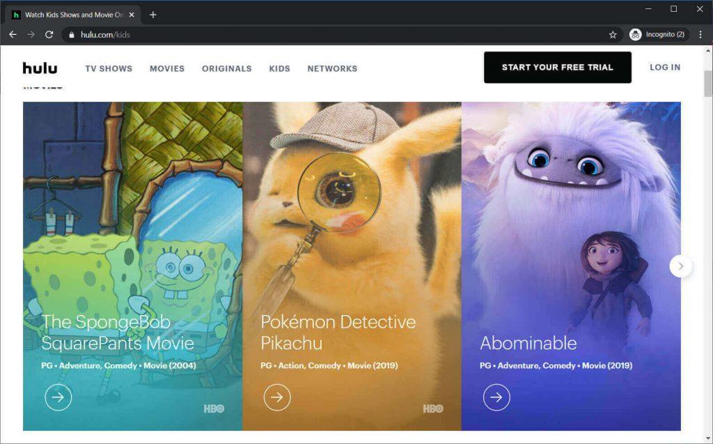 Hulu Anime Site-Oberfläche