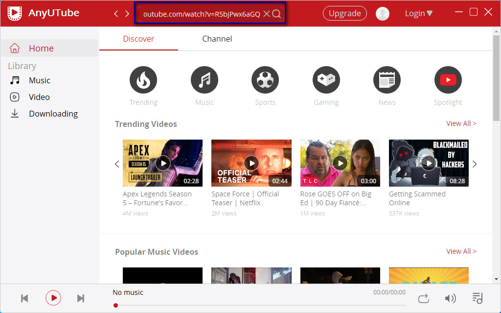 Search YouTube videos on AnyUTube