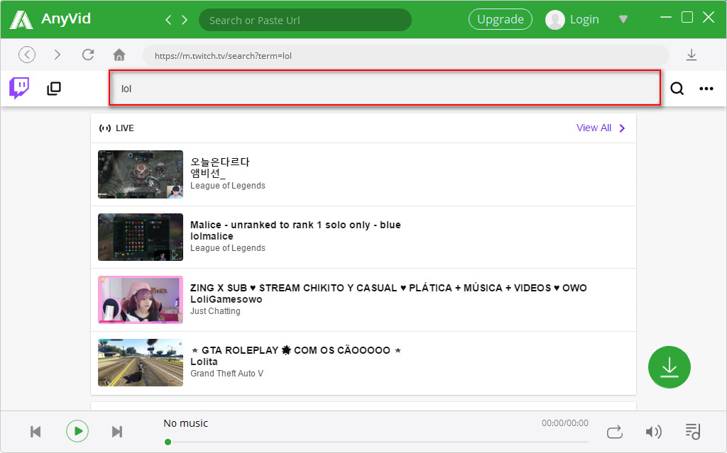 Ricerca video AnyVid Twitch
