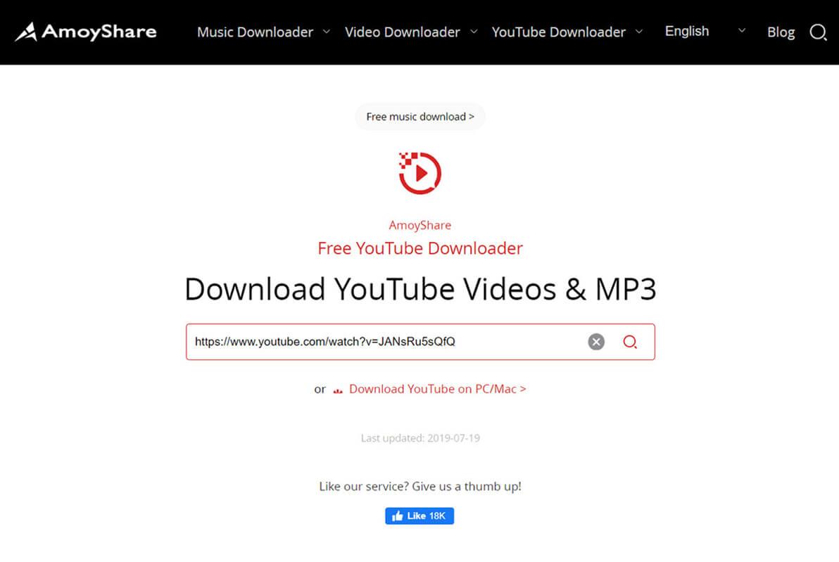 paste link in Free YouTube Downloader