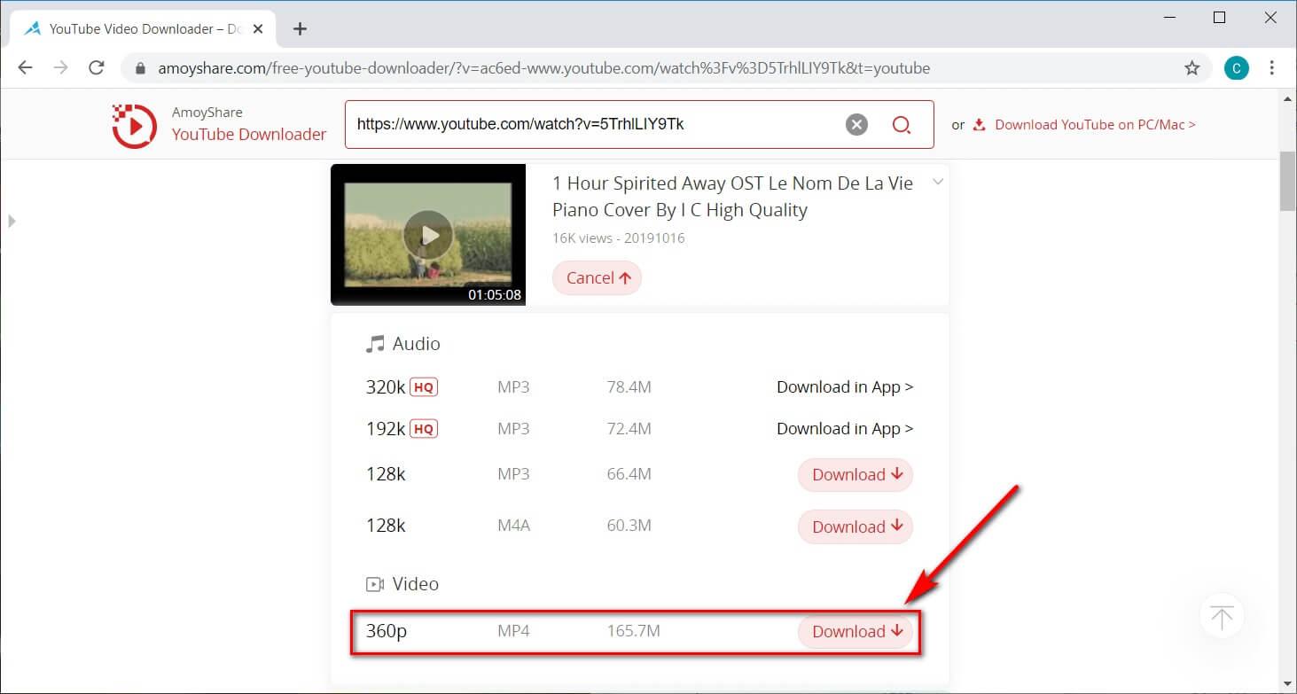 Selezione dei formati di film di YouTube