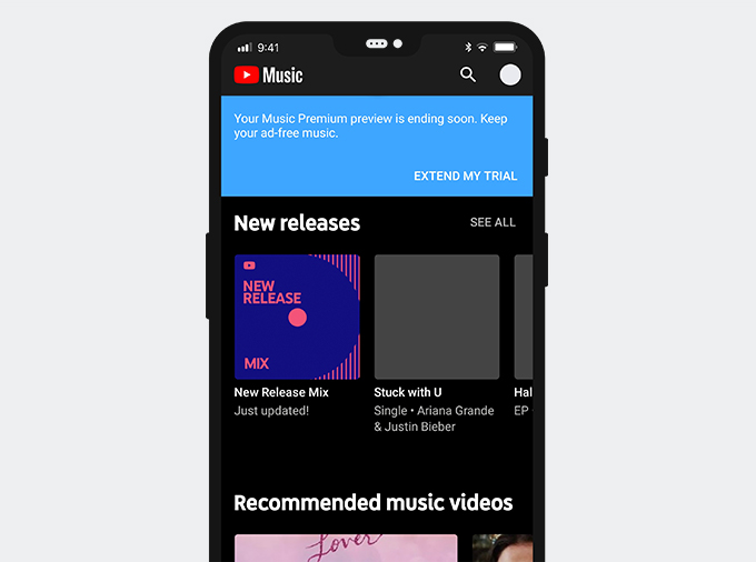 YT Music interface