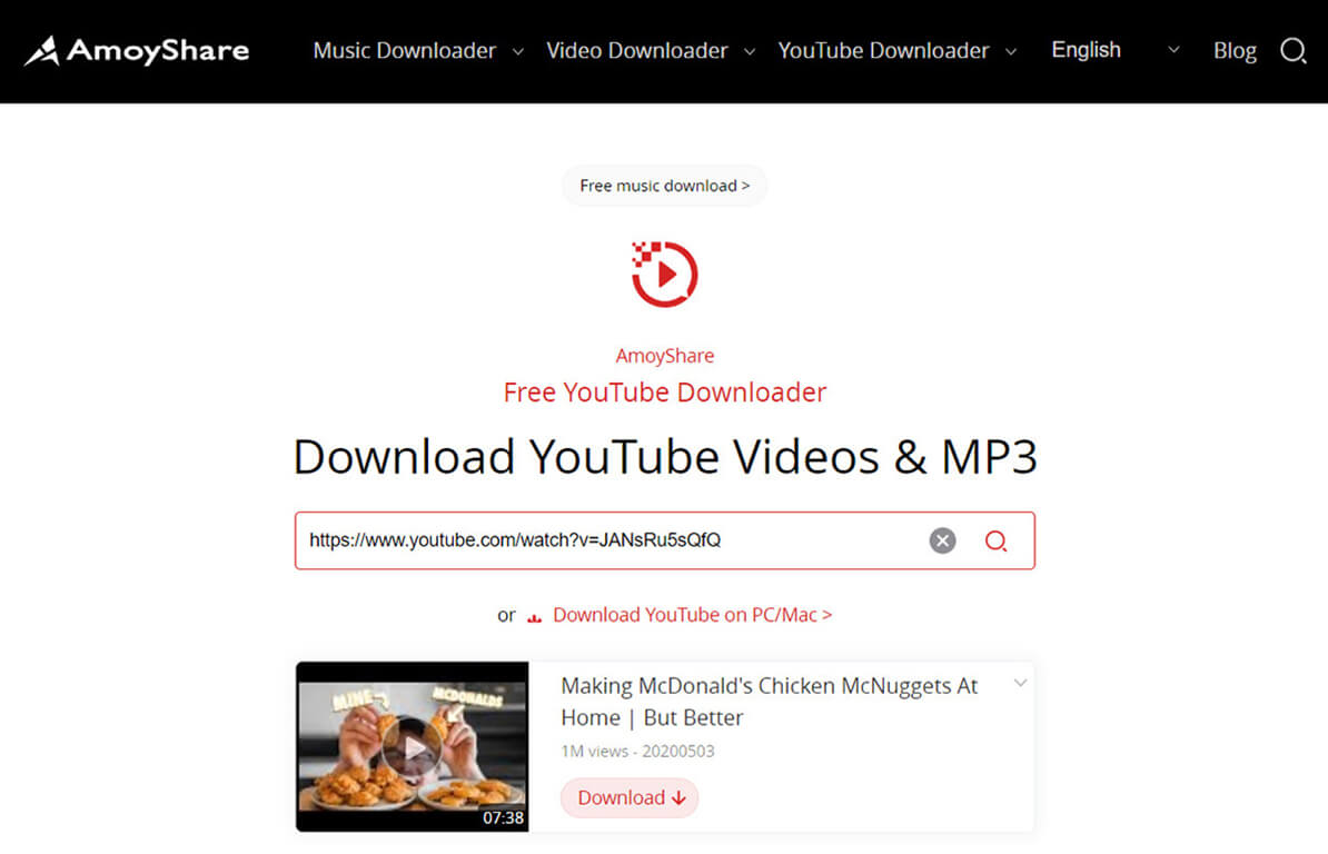 Search Video in Free YouTube Downloader