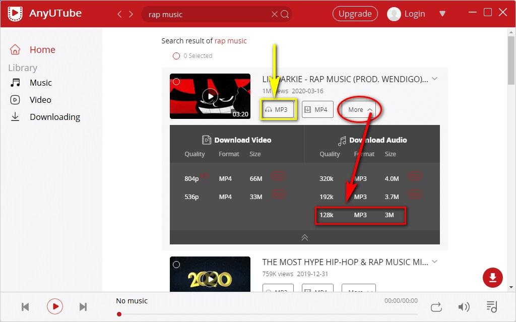 AnyUTube audio downloading