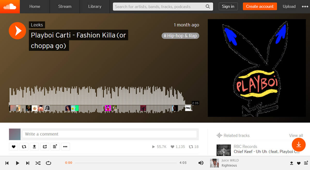 Music play in SoundCloud