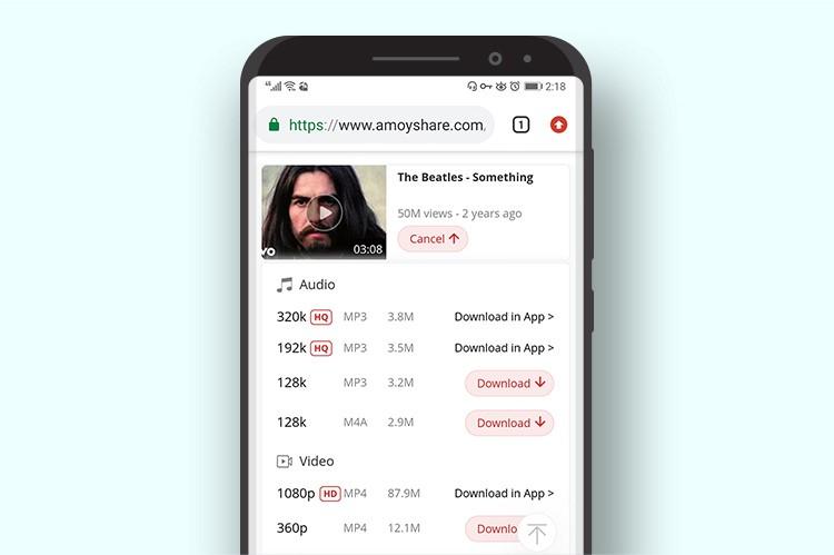 AmoyShare Kostenloser Audio-Download für YouTube Downloader