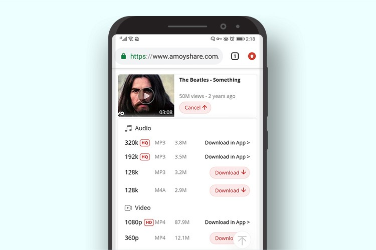 AmoyShare Free YouTube Downloader audio download