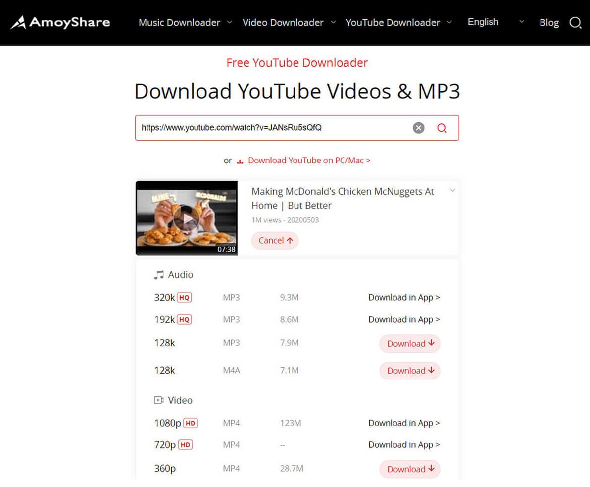 """Fai clic sull'icona """"Download"""" e scegli il tuo formato preferito"""