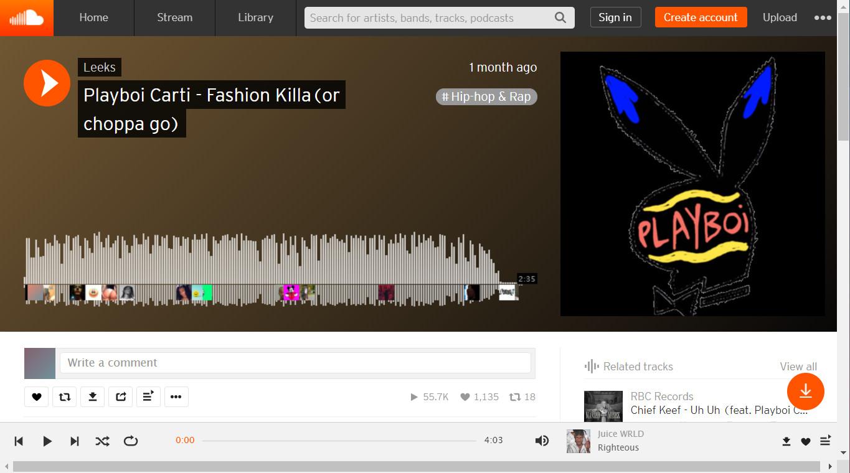 Musikwiedergabe in SoundCloud