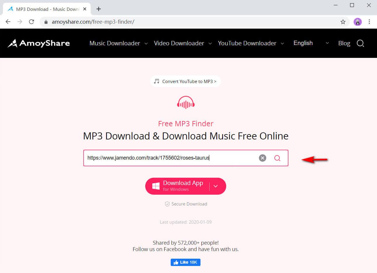 Incolla l'URL musicale di Jamendo