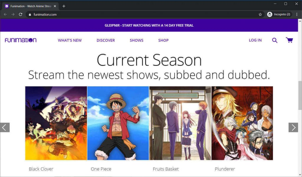 Funimation site interface