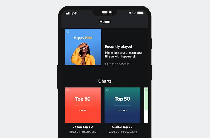 Spotifyアプリのインターフェース