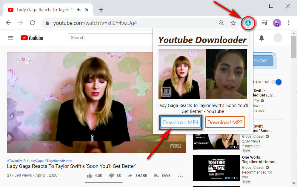 YouTube Downloader extension video find
