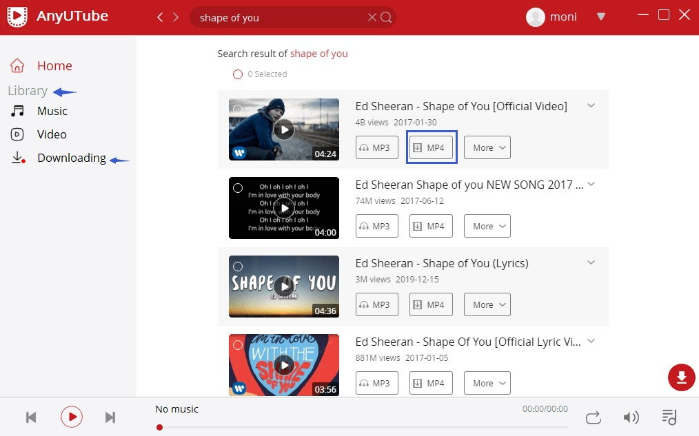 Opzione MP4 per scaricare video di YouTube