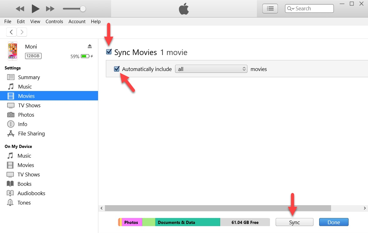 Sync movies on iTunes