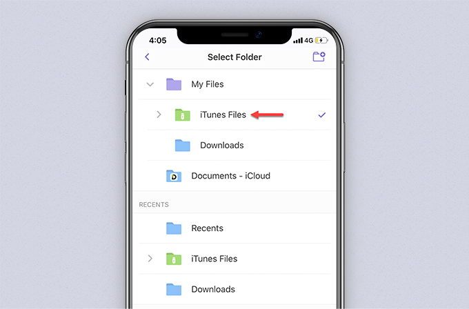 Select Folder interface of Documents by Readdle