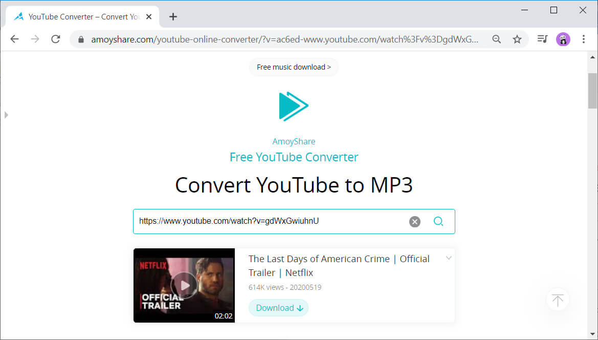 AmoyShare Free YouTube Converter video url search