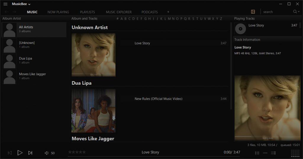 MusicBeeインターフェース