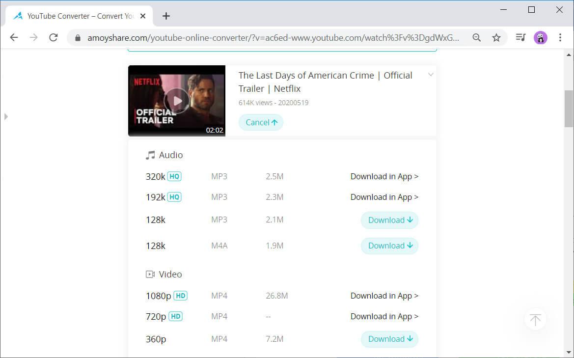 AmoyShare Conversione video gratuita di YouTube Converter