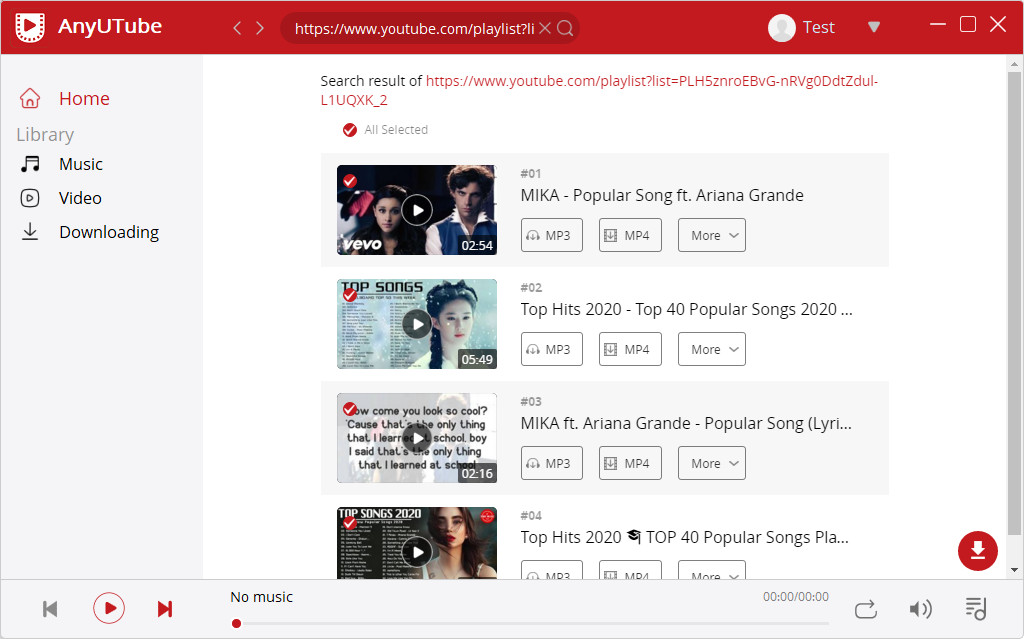 AnyUTube YouTube playlist download