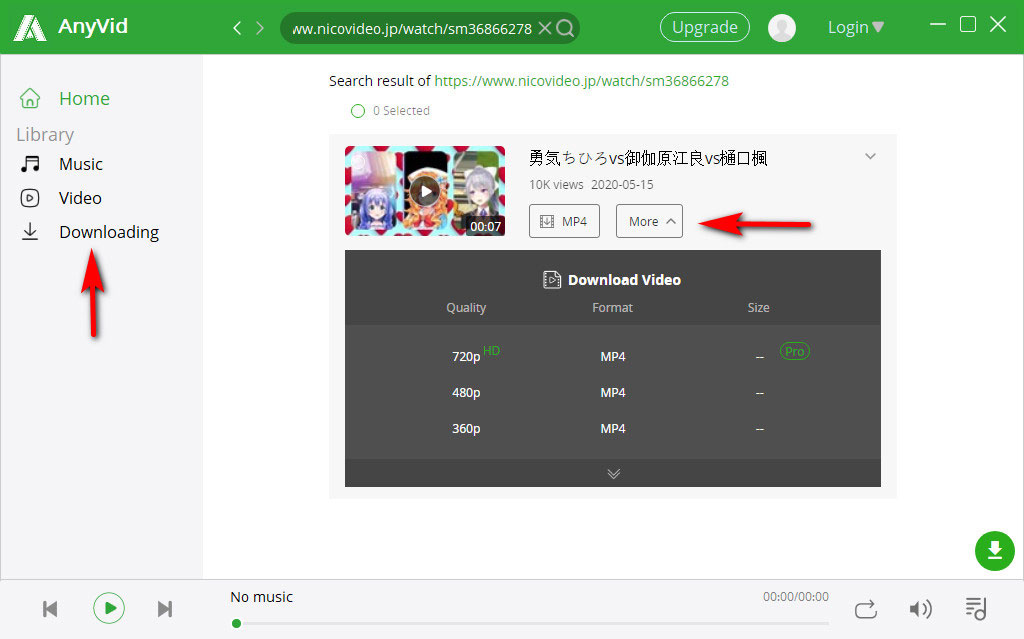 Choose Niconico video to download