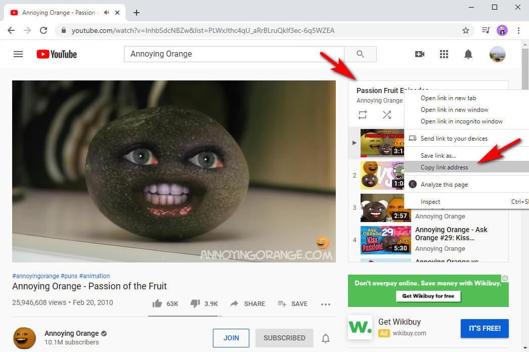 Klicken Sie mit der rechten Maustaste auf den Titel und dann auf Linkadresse kopieren