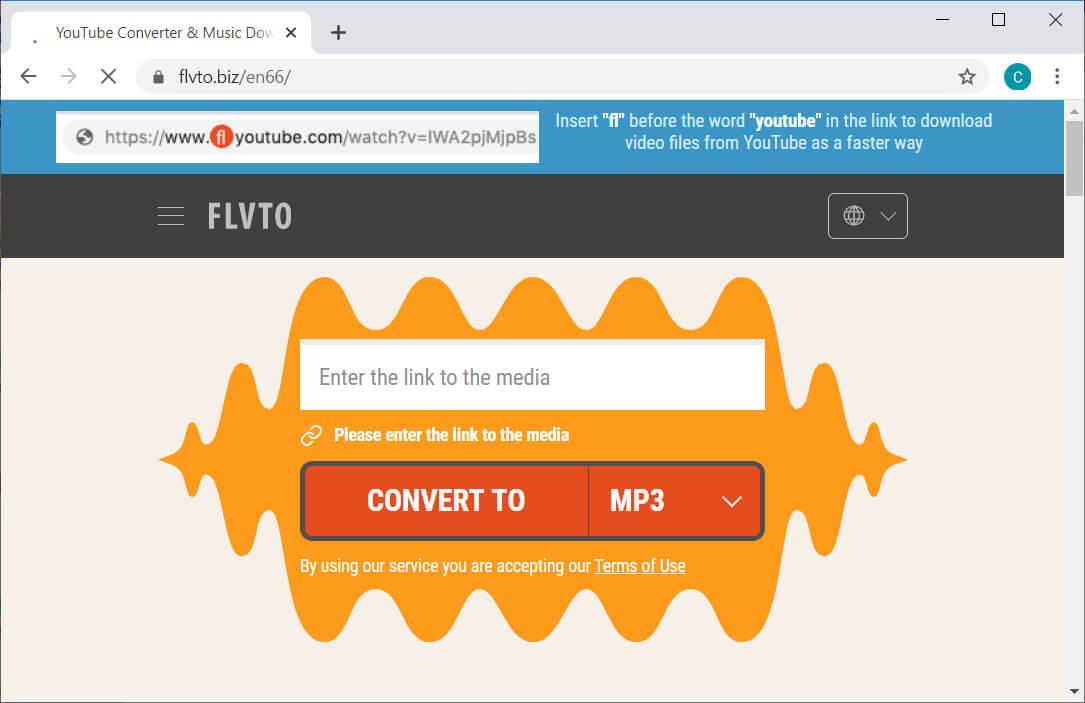 FLVTO interface