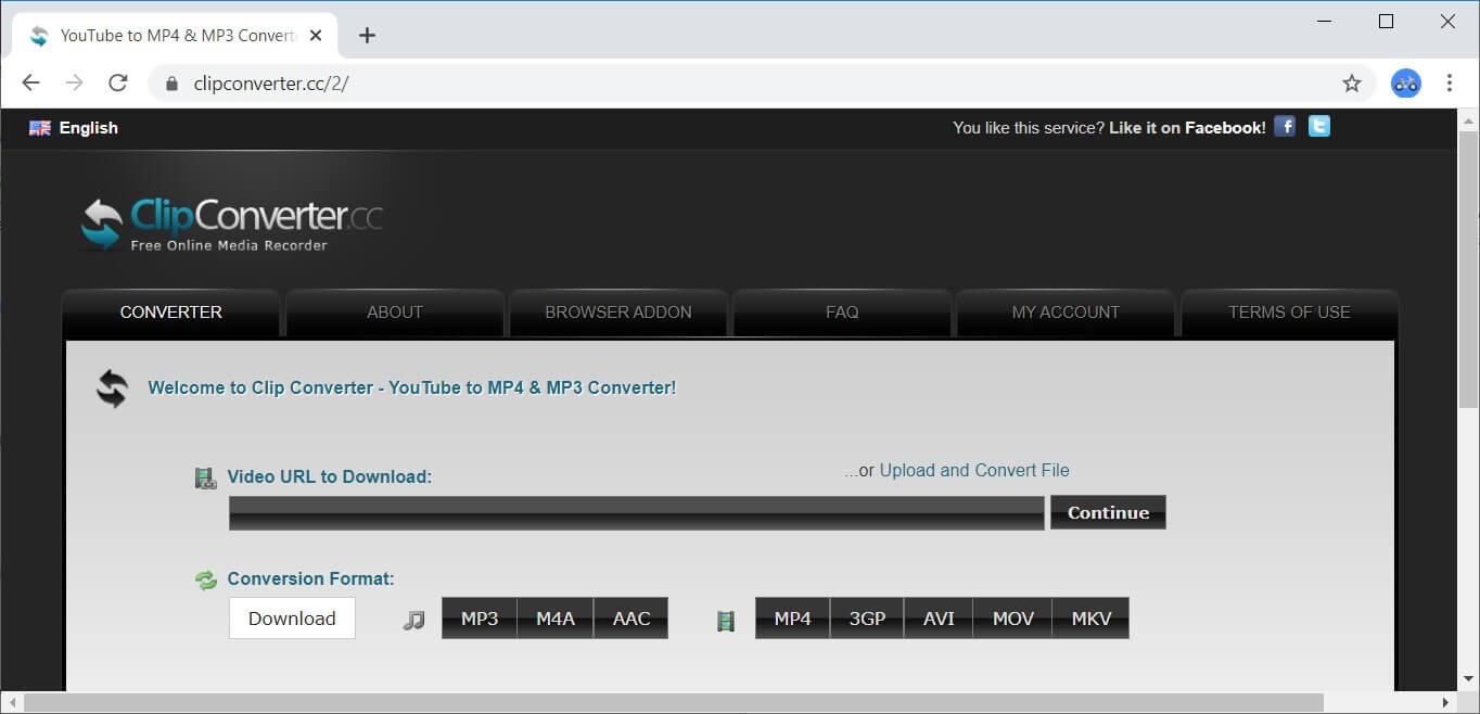 Interfaccia di Clip Converter