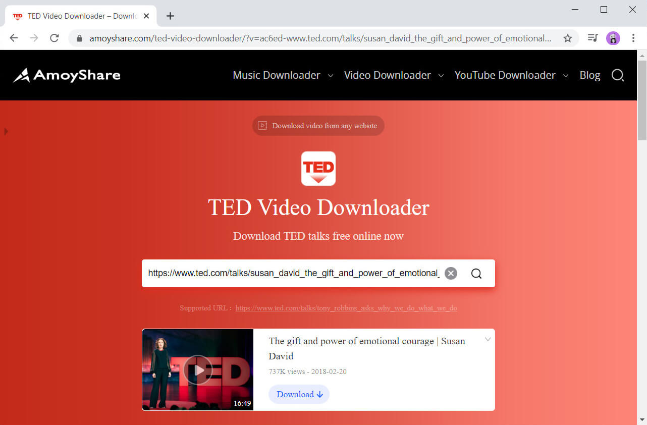 Search for TED video with TED Video Downloader