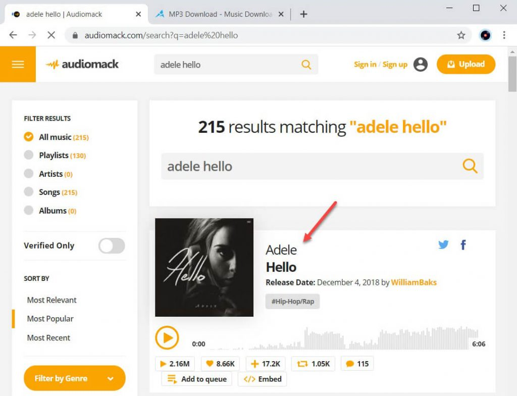 Search for music on Audiomack
