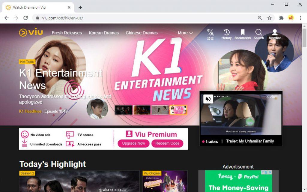 Korean drama website - Viu