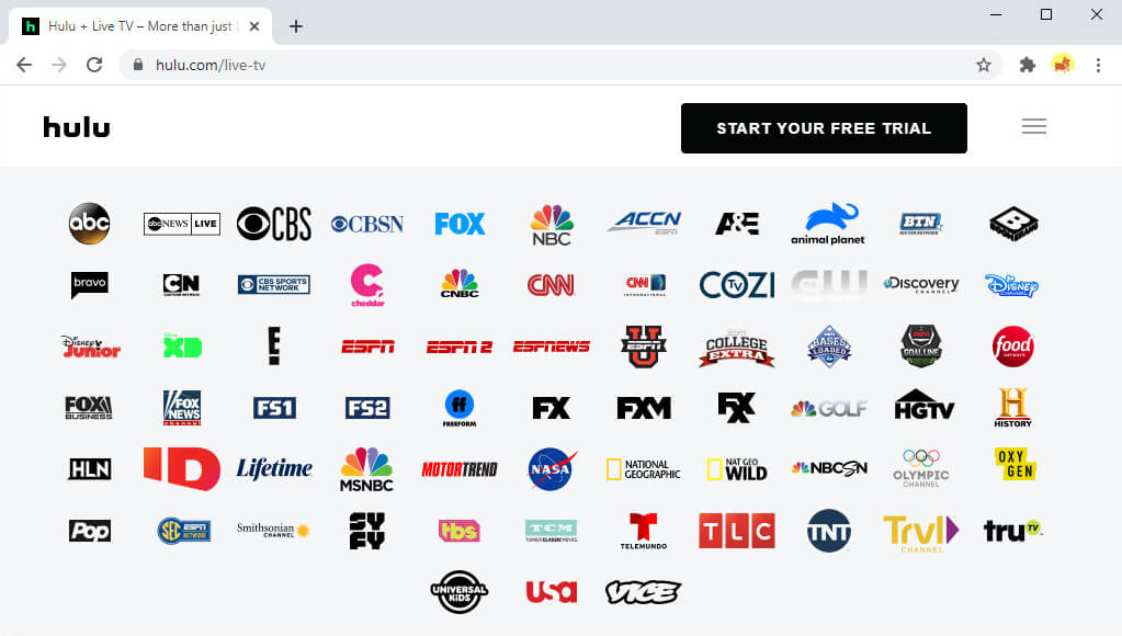 Some channels on Hulu Live TV