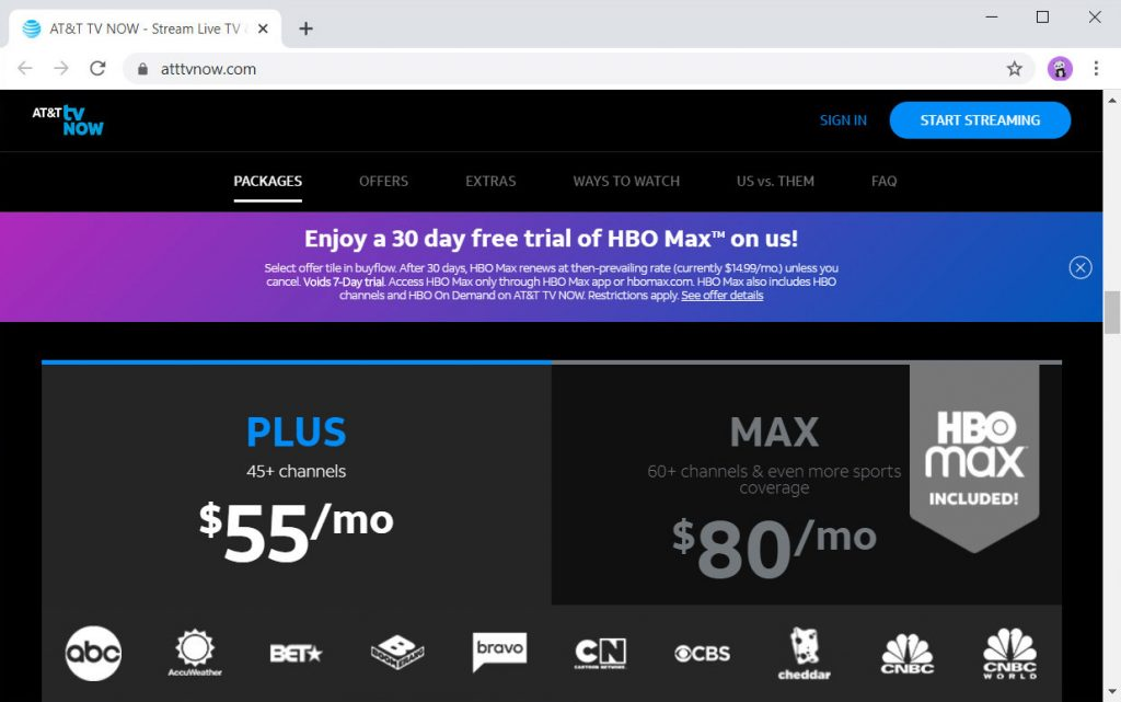 Monthly price for DirecTV Now