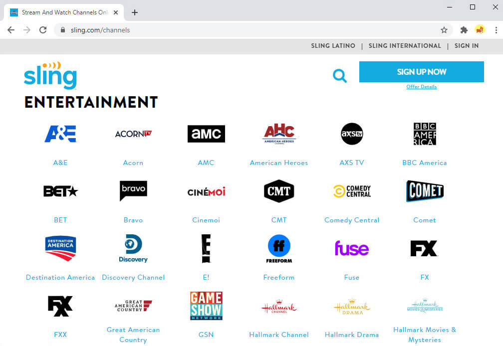 Some channels on Sling