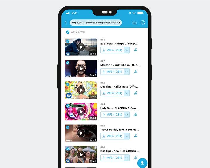 AnyMusicは音楽プレイリストのダウンロードをサポートしています