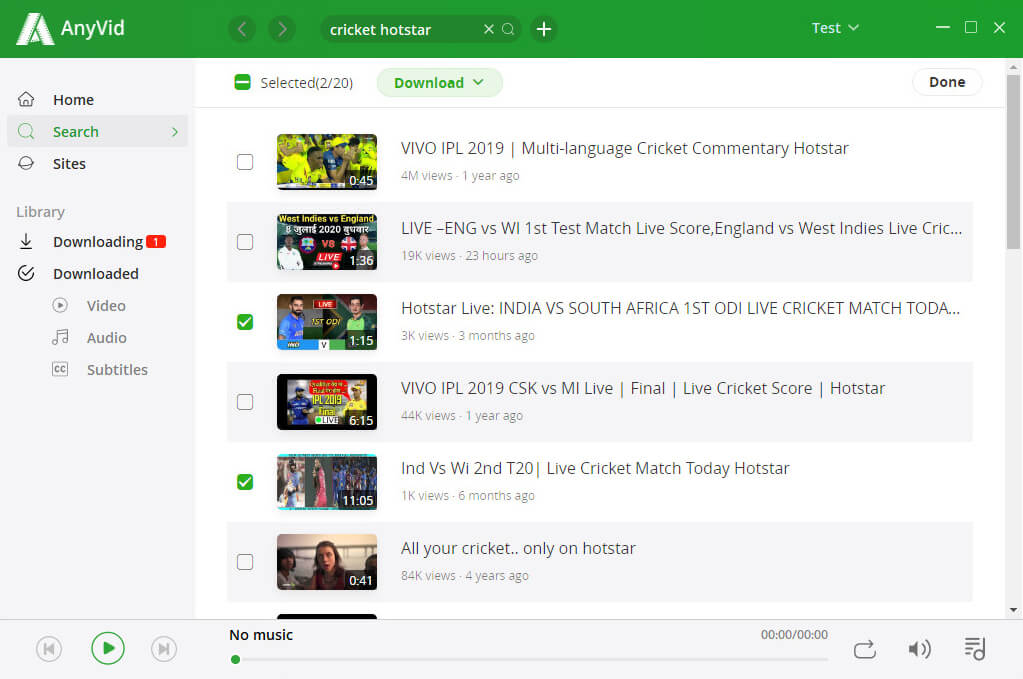 Batch download Hotstar videos on AnyVid