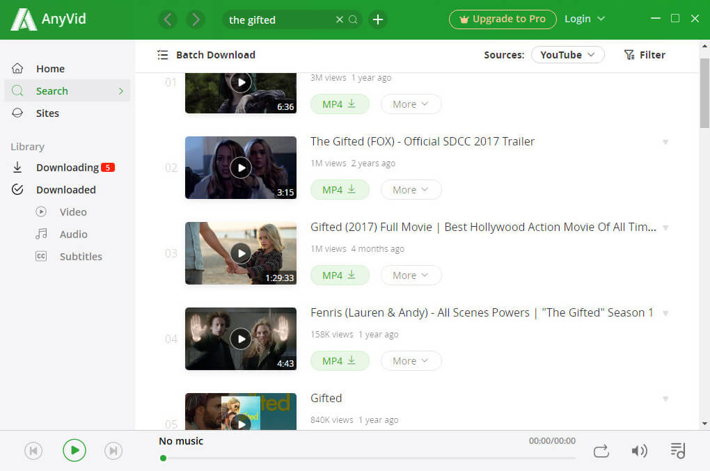 Batch download on AnyVid