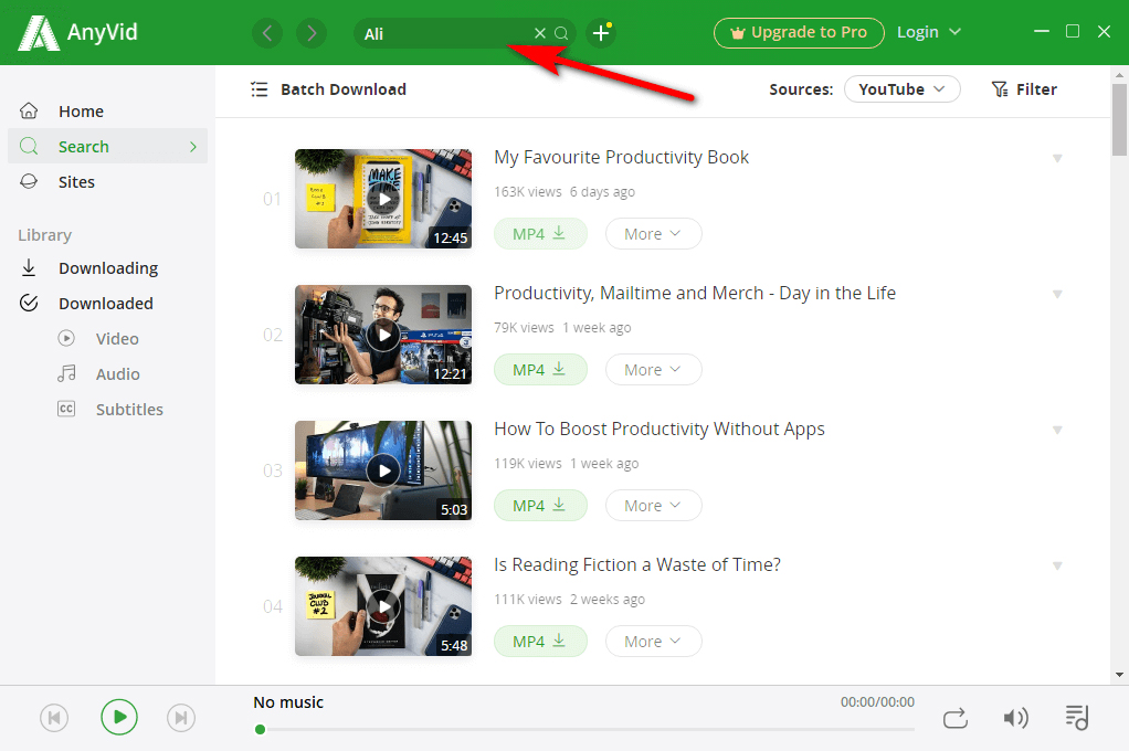 Search videos via keywords