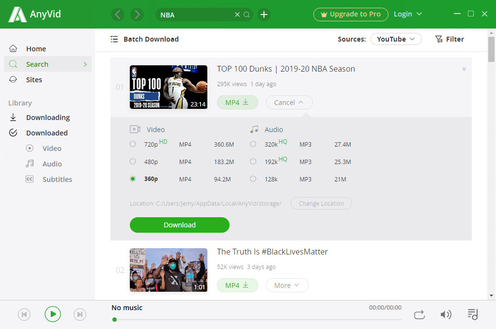 Download TV shows with AnyVid