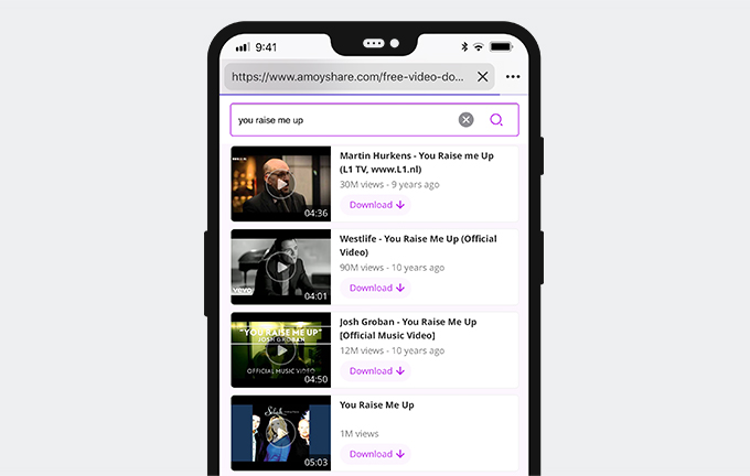 Preview videos on AmoyShare Free Video Finder