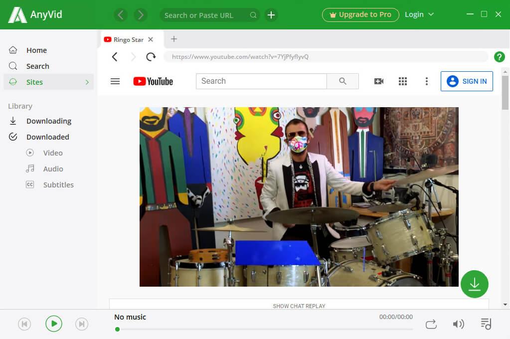 Streaming YouTube su AnyVid